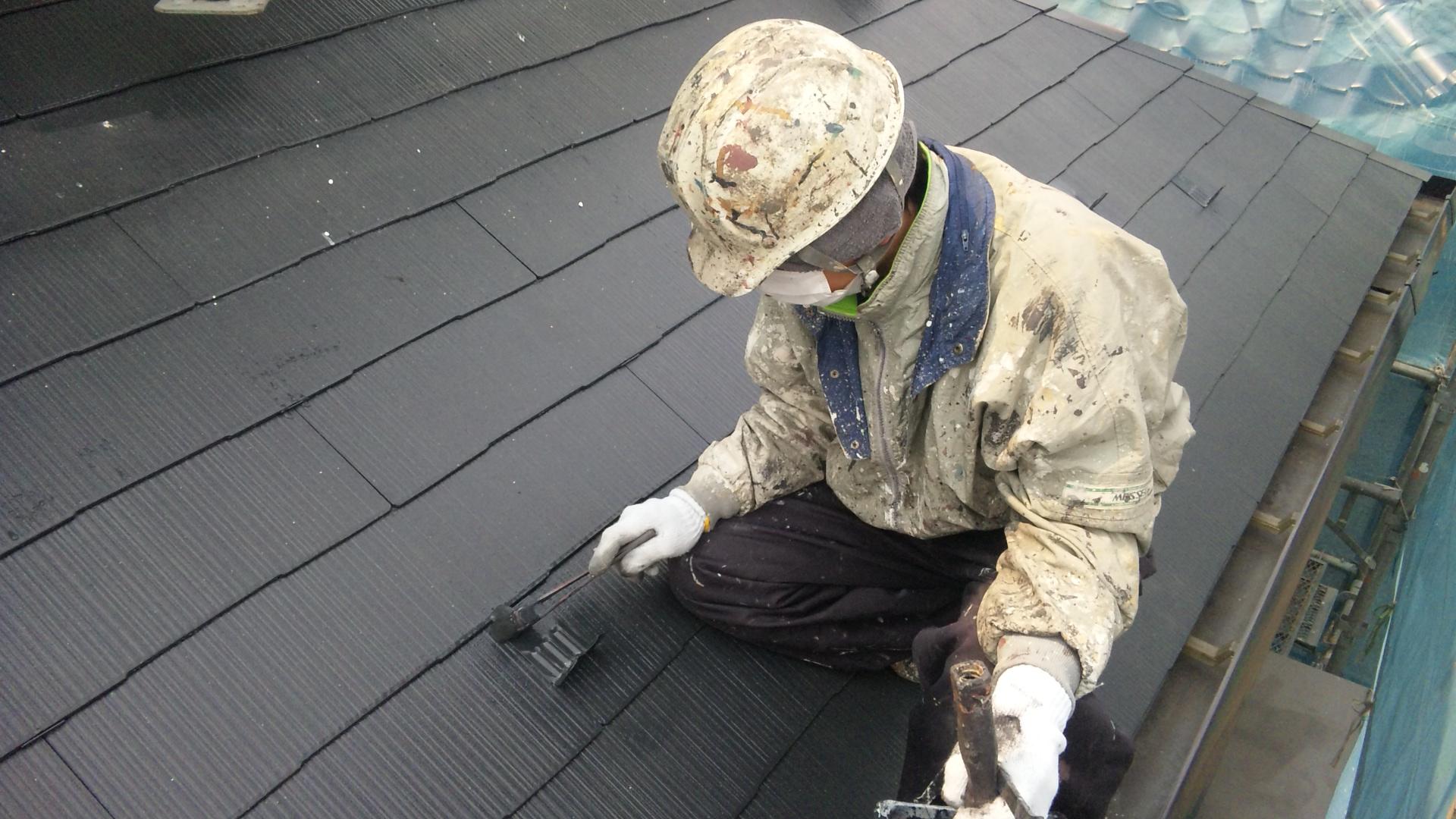 一階屋根上塗り