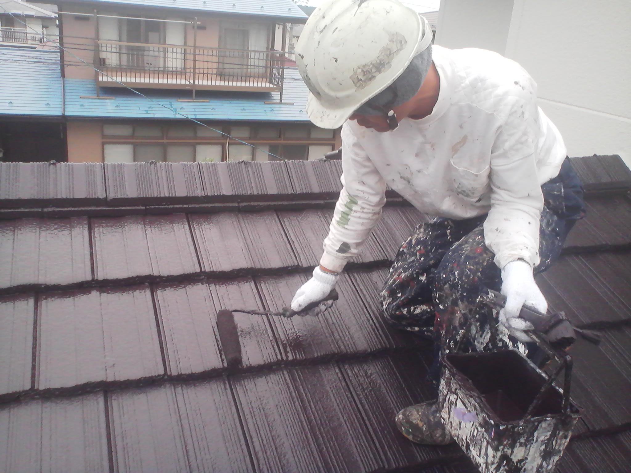 一階屋根塗装ローラー