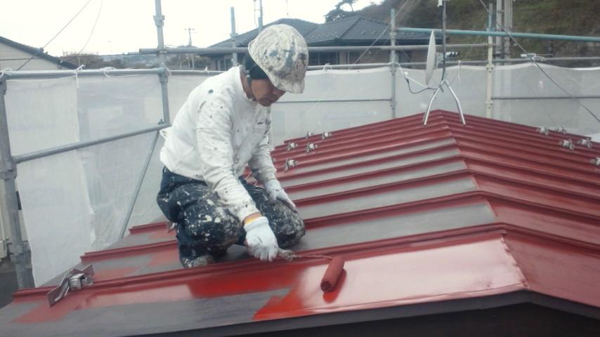 二階、物置屋根錆止め塗装