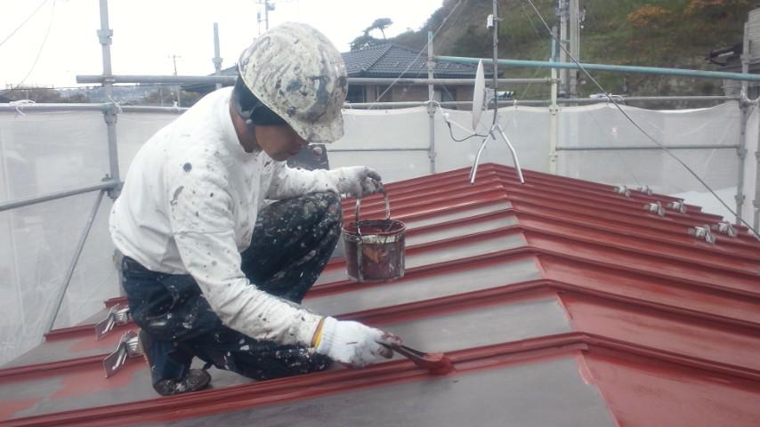 二階、物置屋根錆止め塗装2