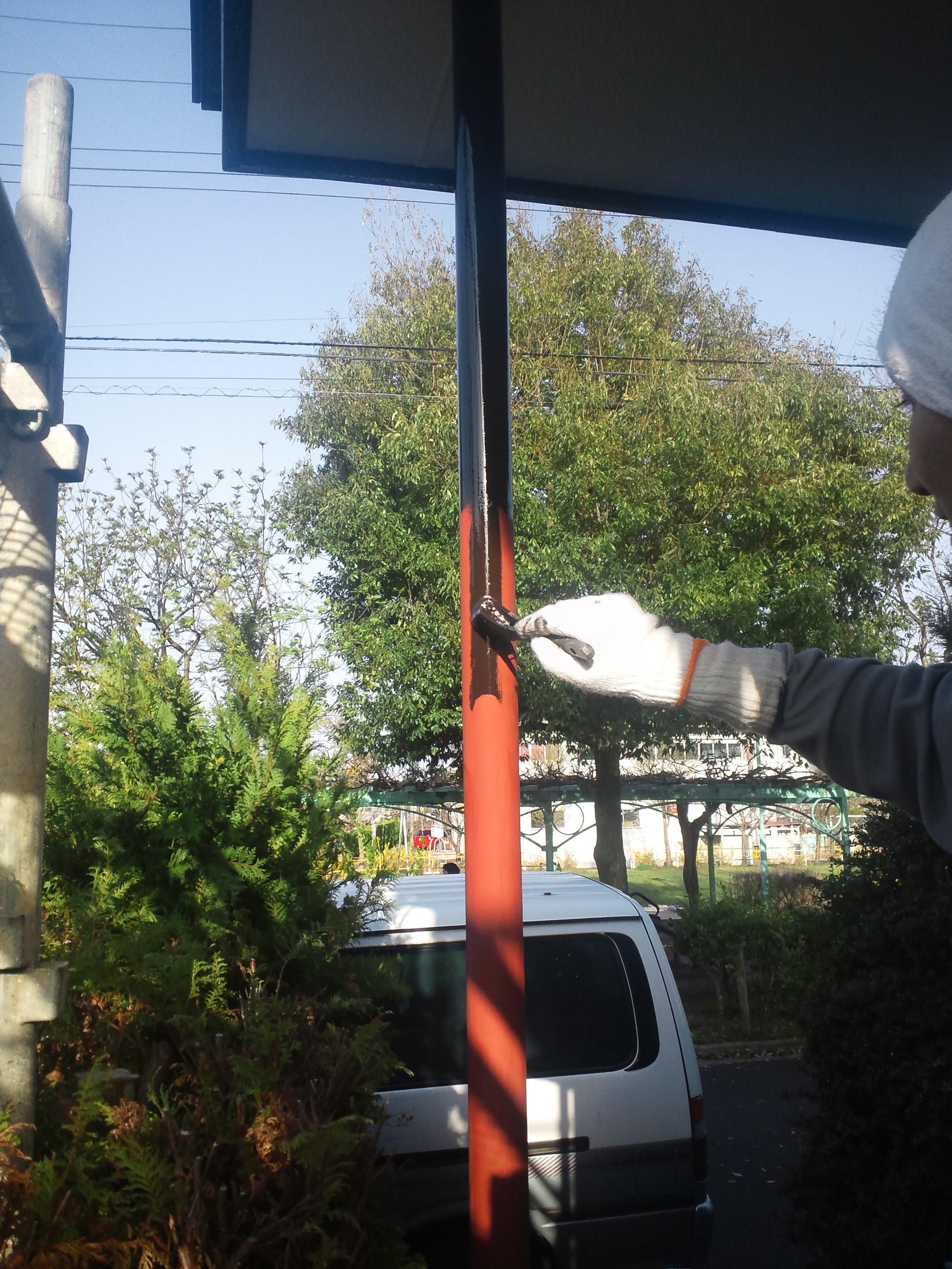 0428 玄関柱塗装