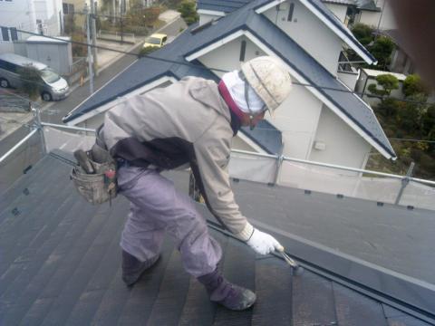 121130屋根中塗り